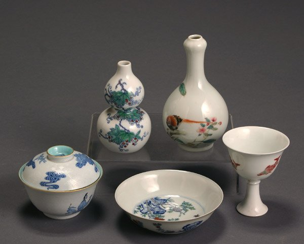 1: Group of Five Chinese 'Famille Rose' Cabinet Article