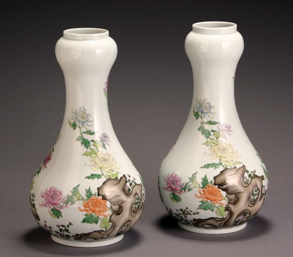 3: Pair of Chinese 'Famille Rose' Double-Gourd Shaped V