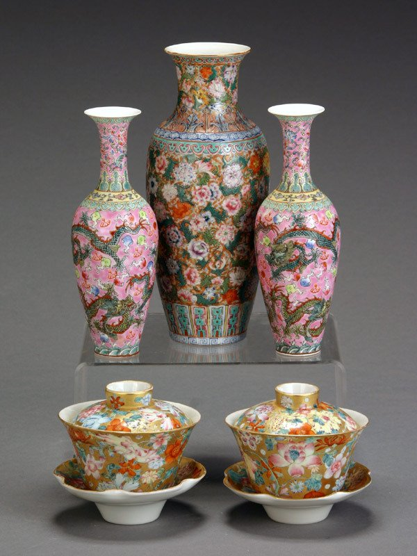 4: Group of Five Chinese 'Famille Rose' Cabinet Article