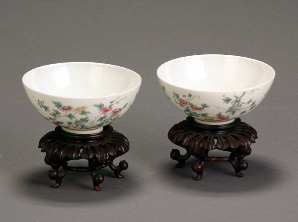 5: Pair of Chinese 'Famille Rose' Eggshell Bowls 20th C