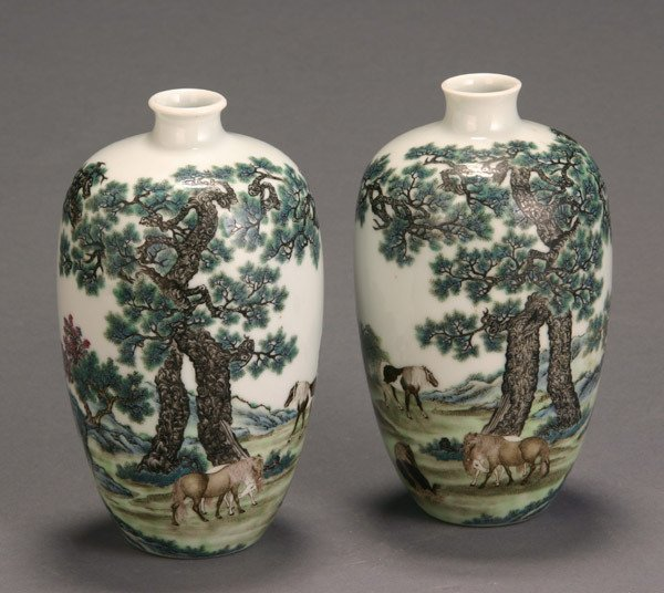 6: Pair of Chinese 'Famille Rose' Landscape Meiping Vas