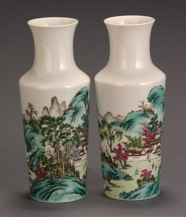7: Pair of Chinese 'Famille Rose' Landscape Rouleaux Va