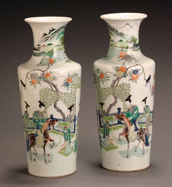 8: Pair of Chinese 'Famille Verte' Rouleaux Vases 20th