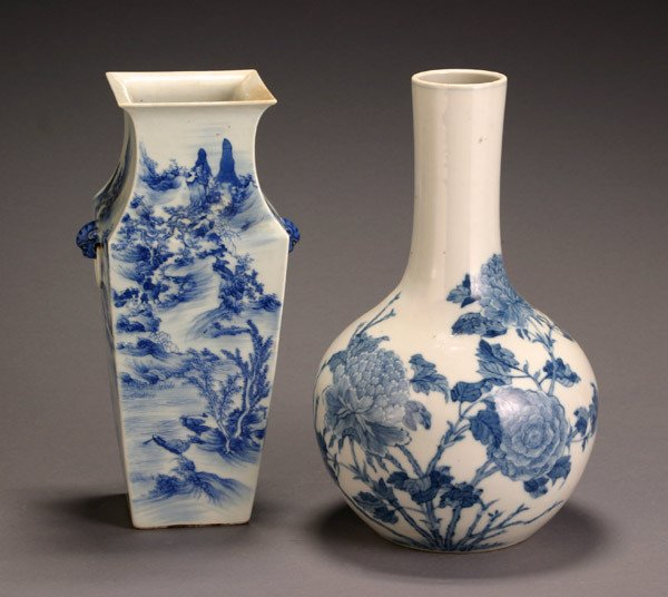 10: Two Chinese Blue and White Vases 20th Century
