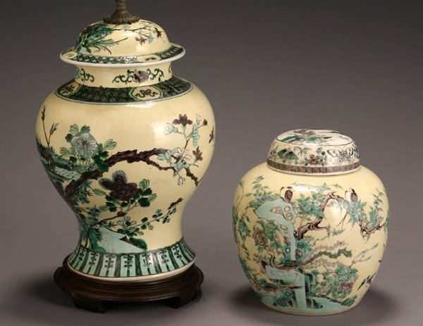 11: Chinese 'Famille Verte' Yellow Ground Covered Urn a