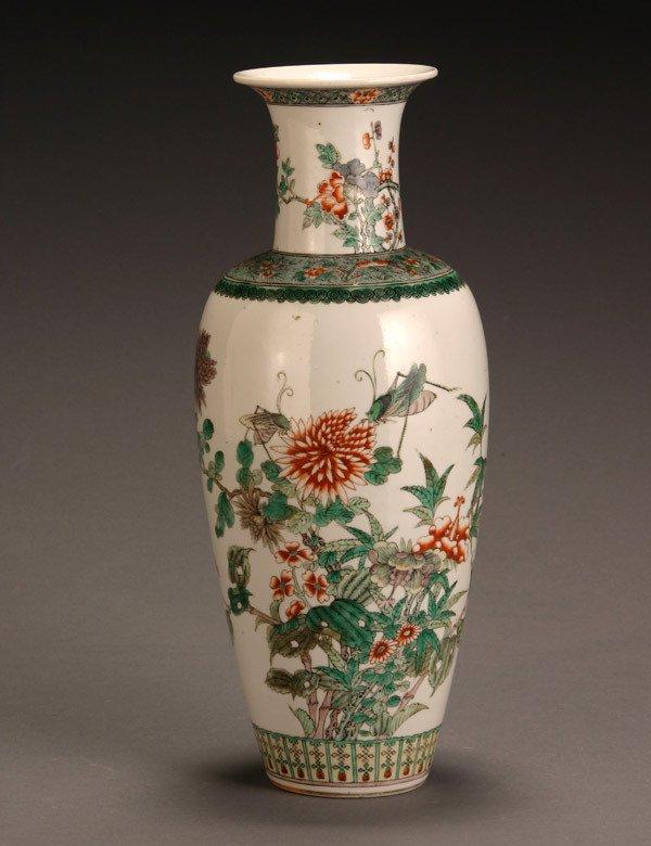 14: Chinese 'Famille Verte' Baluster Vase 20th Century