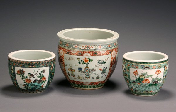 15: Three Chinese 'Famille Verte' Jardinières 20th Cent