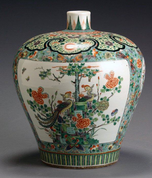16: Chinese 'Famille Verte' Large Meiping Vase First Ha