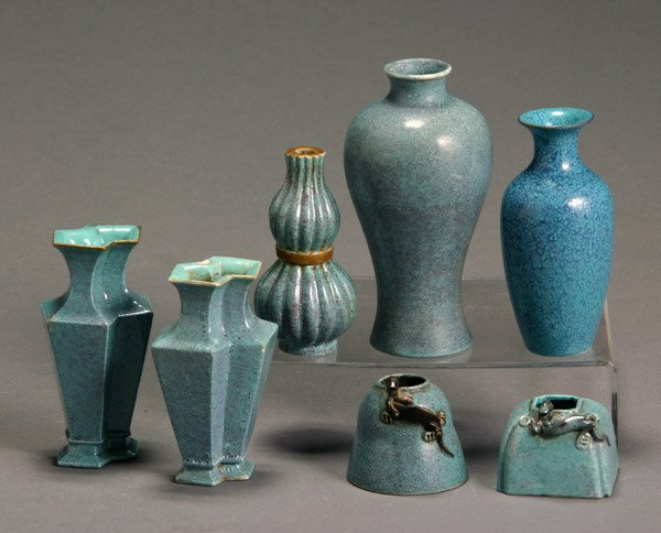 18: Group of Seven Chinese Robin's Egg Blue Glazed Scho