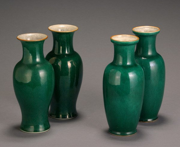 19: Two Pairs of Chinese Green Crackle Glazed Vases 20t