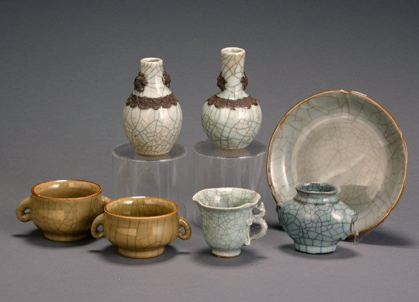 20: Group of Seven Chinese Celadon Crackle Glazed Schol