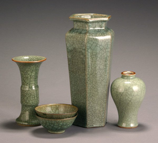 21: Group of Five Chinese Celadon Crackle Glazed Schola