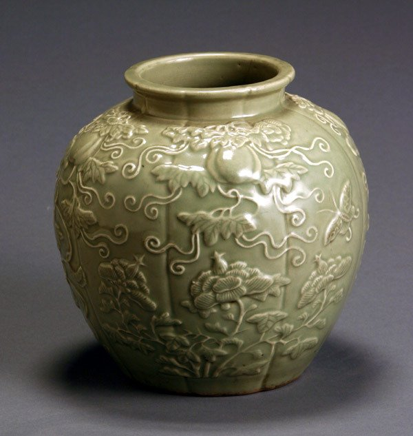 22: Chinese Molded Celadon Melon-Form Jar 20th Century