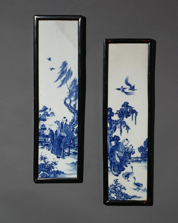23: Set of Four Chinese Blue and White Plaques Guangxu