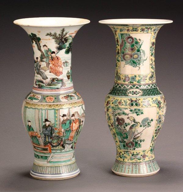 53: Two Chinese 'Famille Verte' Yen-Yen Vases
