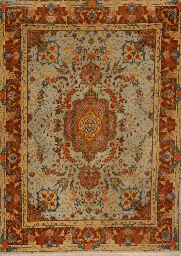 307: Tabriz Partial Silk and Wool Rug Post 1950 6 ft 6