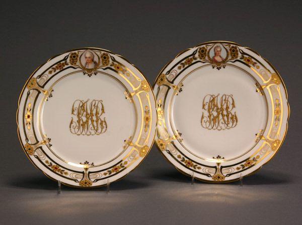 540: Set of Twelve Dresden Portrait Cabinet Plates Deco