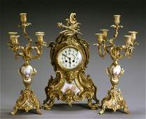 667: Sèvres-Type Mounted Ormolu Three-Piece Clock Garni