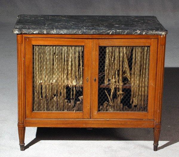 717: Louis XVI Walnut Marble Top Small Bibliothèque Lat