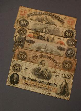 Group of Two State Issued Bank Notes and Four Confed