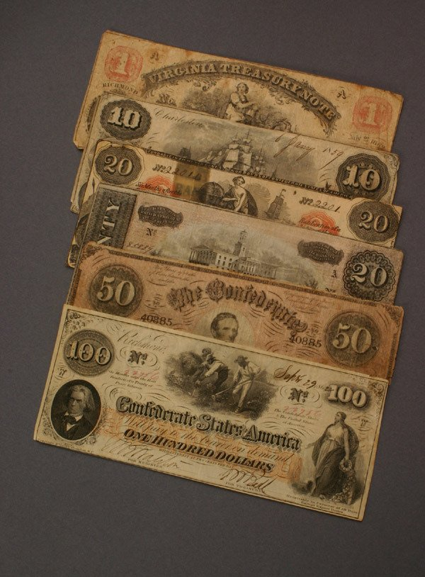 1: Group of Two State Issued Bank Notes and Four Confed
