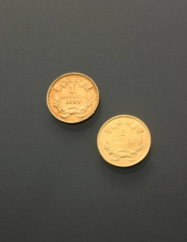 6: Two U.S. One-Dollar Gold Coins