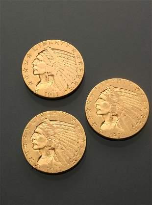 Three U.S. Indian Head Five-Dollar Gold Coins