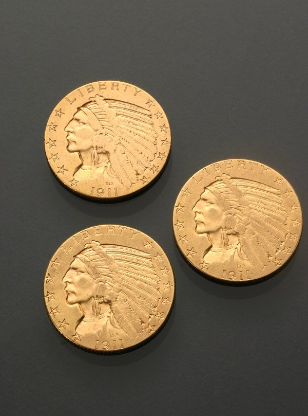 8: Three U.S. Indian Head Five-Dollar Gold Coins