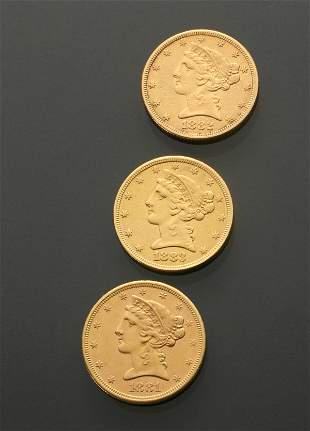 Three U.S. Half Eagle Five-Dollar Gold Coins