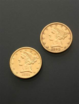 Two U.S. Half Eagle Five-Dollar Gold Coins