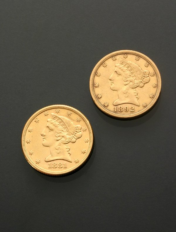 11: Two U.S. Half Eagle Five-Dollar Gold Coins