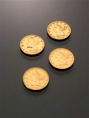 Four U.S. Half Eagle Five-Dollar Gold Coins