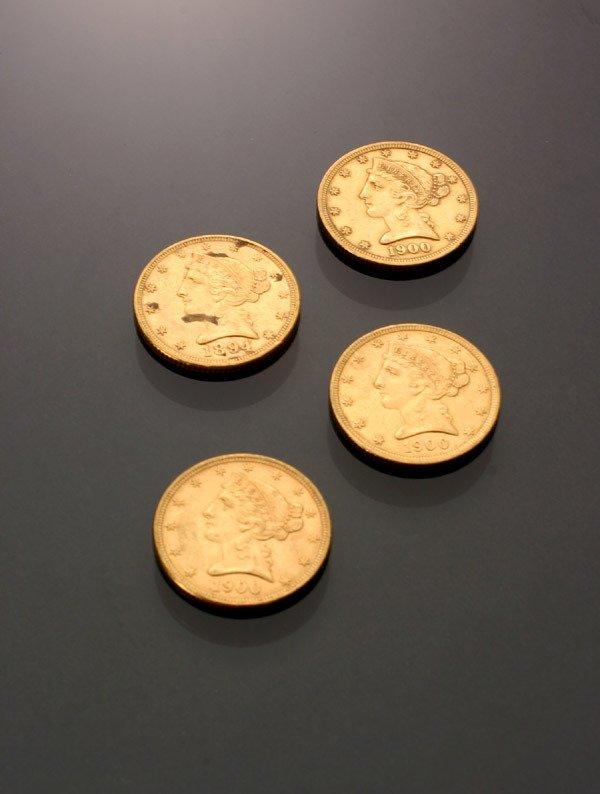 14: Four U.S. Half Eagle Five-Dollar Gold Coins