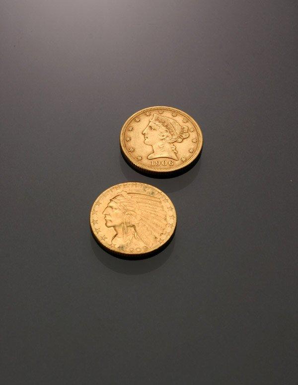 15: Two U.S. Half Eagle & Indian Head Five-Dollar Gold
