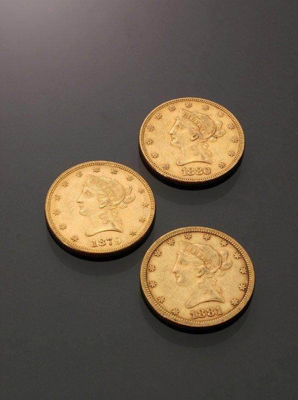 16: Three U.S. Eagle Ten-Dollar Gold Coins