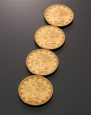Four U.S. Eagle Ten-Dollar Gold Coins