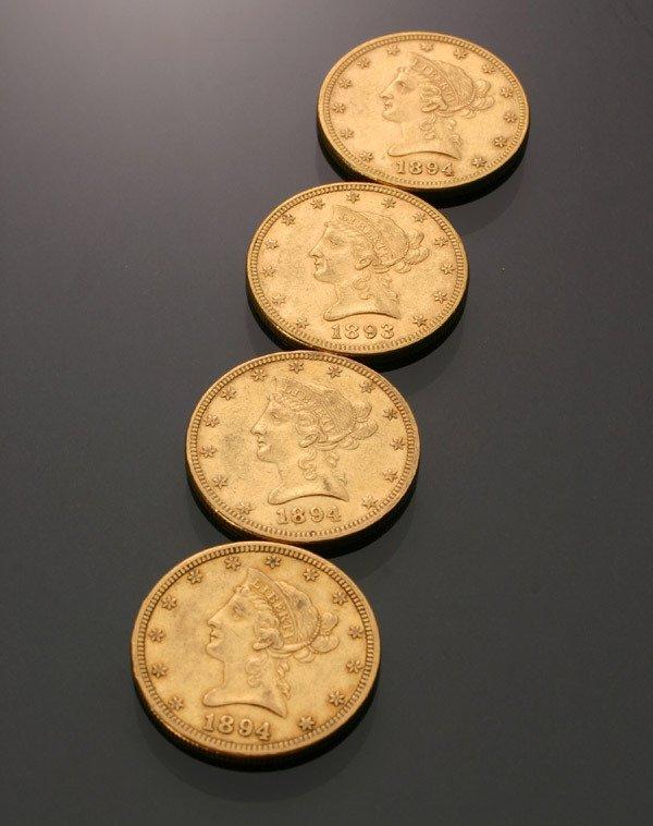 18: Four U.S. Eagle Ten-Dollar Gold Coins