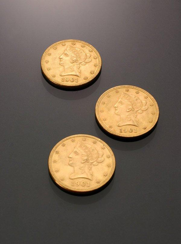 21: Three U.S. Eagle Ten-Dollar Gold Coins