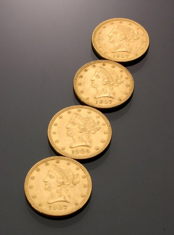 22: Four U.S. Eagle Ten-Dollar Gold Coins