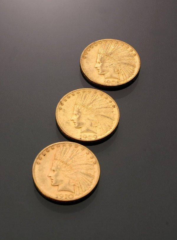 23: Three U.S. Indian Head Ten-Dollar Gold Coins