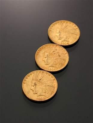 Three U.S. Indian Head Ten-Dollar Gold Coins