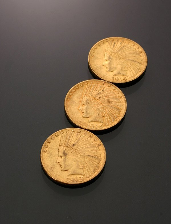 24: Three U.S. Indian Head Ten-Dollar Gold Coins