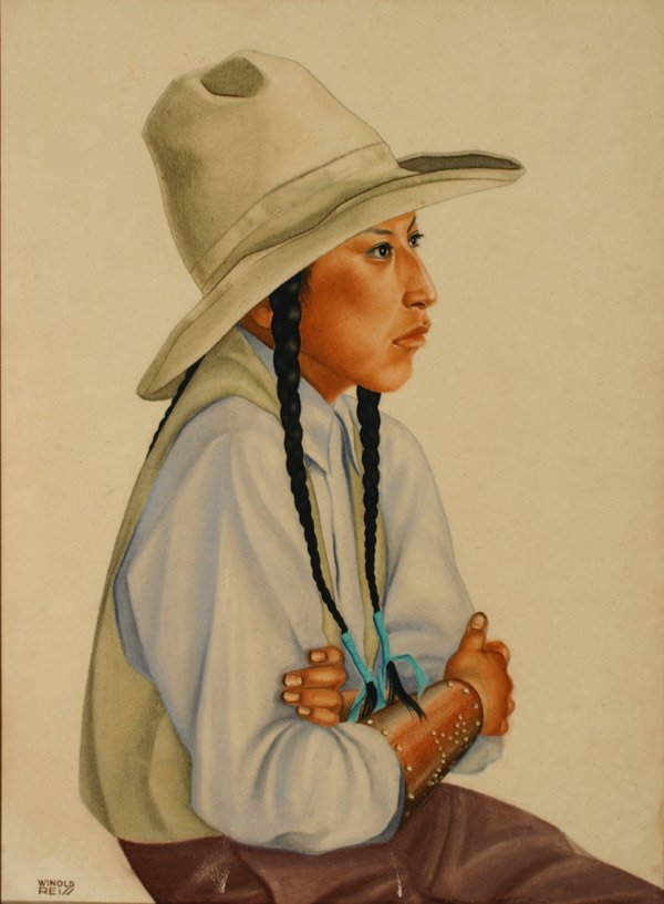 628: Winold Reiss (American 1886-1953), Blackfoot Girl,