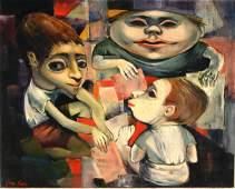 649: Joan Erbe (American b. 1926), Three Children, oil