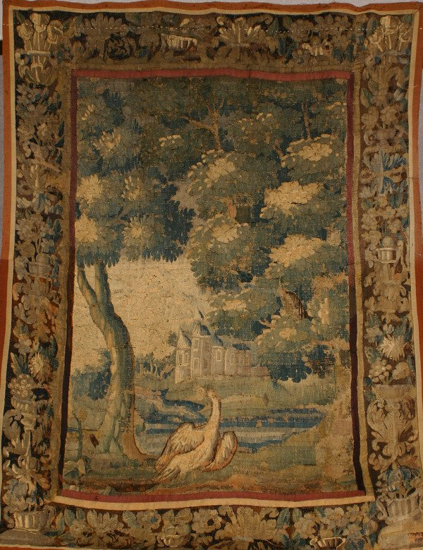 1001: Flemish Verdure Tapestry 19th Century 7 ft 4 in x