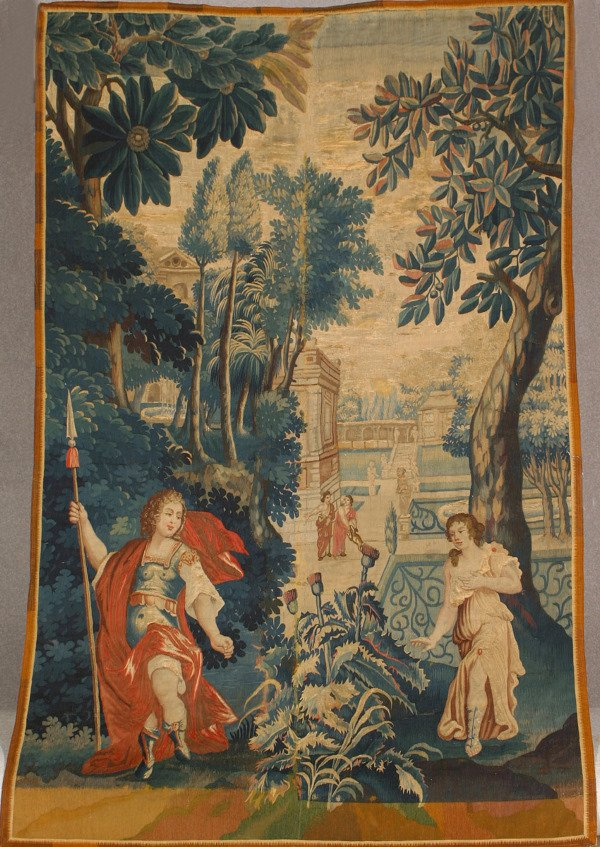 1002: Aubusson Tapestry Fragment 19th Century