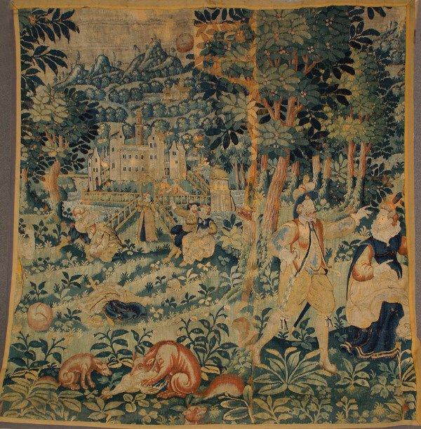 1003: Flemish Verdure Tapestry 19th Century