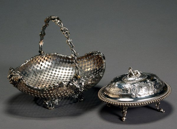 1082: Victorian Silver Plate Pierced Fruit Basket and a