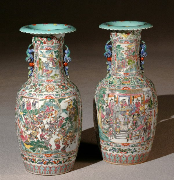 1177: Pair of Chinese Export 'Famille Rose' Temple Vase