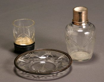 13: French Silver Mounted Cut Glass Bedside Water Set